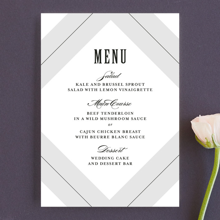 """Pinstripe"" - Classical Menu Cards in Shadow by Lauren Chism."