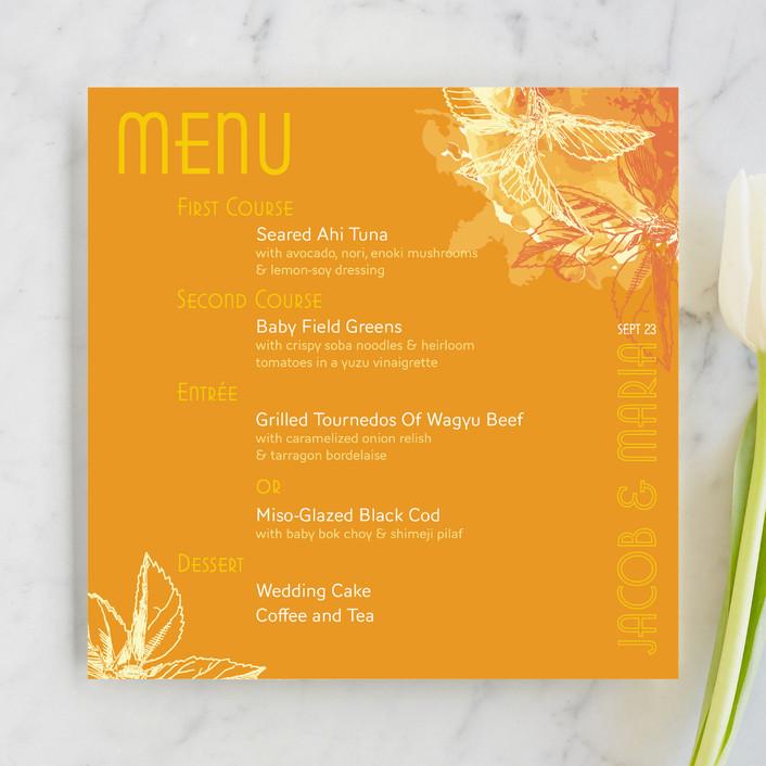 """Citrus Zest"" - Modern, Floral & Botanical Menu Cards in Citrus by Sandhya Rao."