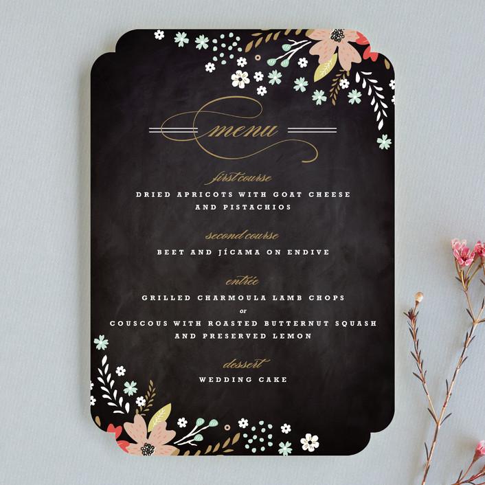 """Floral Chalkboard"" - Floral & Botanical, Rustic Menu Cards in Peony by Kristie Kern."
