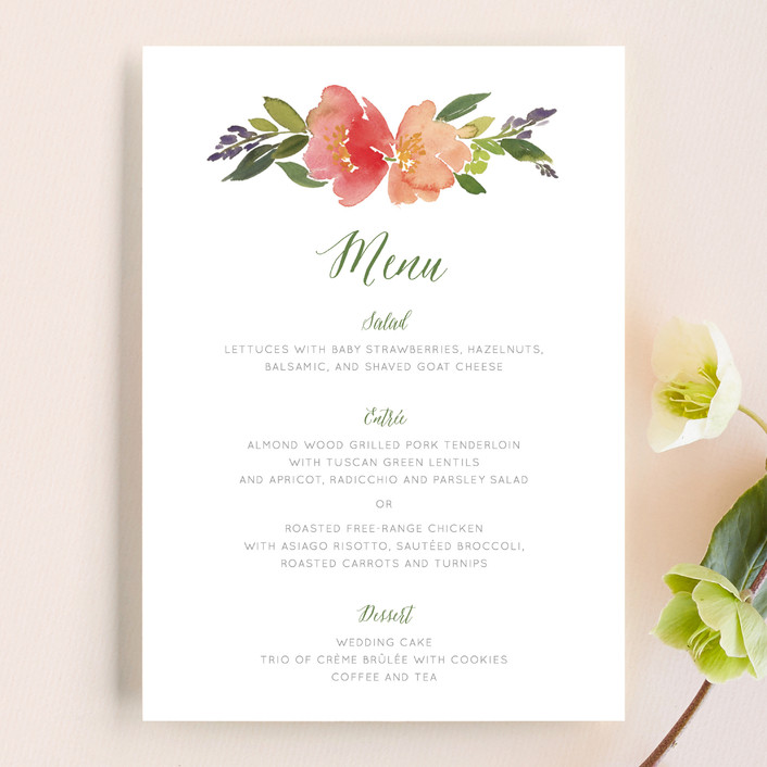 """Watercolor Floral"" - Floral & Botanical Menu Cards in Olive by Yao Cheng Design."