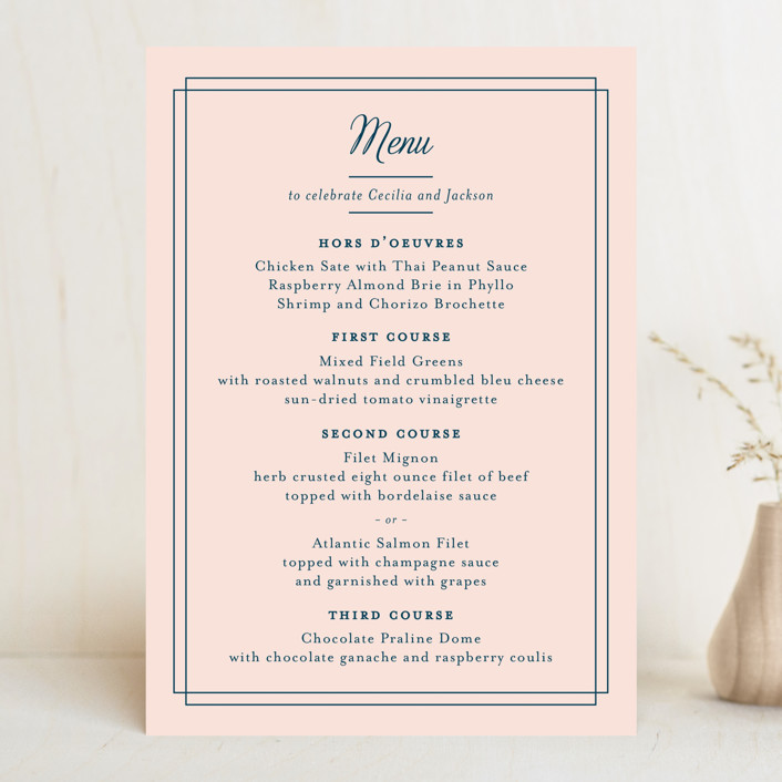 """Chic Gala"" - Classical Menu Cards in Cotton Candy by Kimberly FitzSimons."