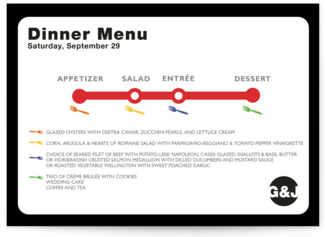 This is a landscape modern, white Menus by Fred Designs called Dinner Map with Standard printing on Signature in Classic Flat Card format. Give guests a sneak peek of the meal to come with these unique menus. All menus can ...