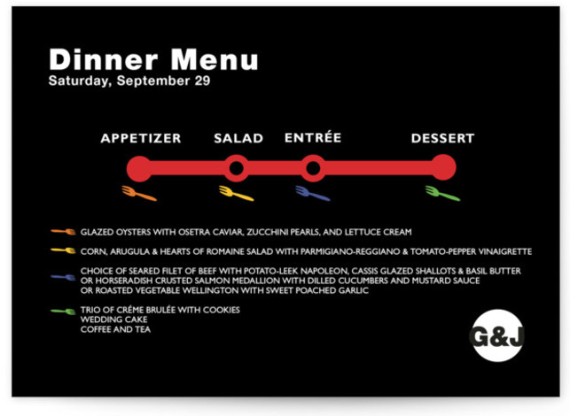 This is a landscape modern, black Menus by Fred Designs called Dinner Map with Standard printing on Signature in Classic Flat Card format. Give guests a sneak peek of the meal to come with these unique menus. All menus can ...