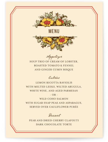 This is a portrait floral, rustic, vintage, red Menus by Paper Dahlia called Harvest Floral with Standard printing on Signature in Classic Flat Card format. This design features vintage inspired typography and a large floral bouquet that frames the couple's ...