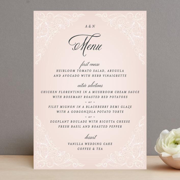 """Elegant Lace"" - Elegant Menu Cards in Blush by Hooray Creative."