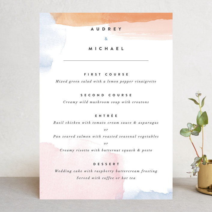 """Watercolor Wisp"" - Menu Cards in Blush by Ariel Rutland."
