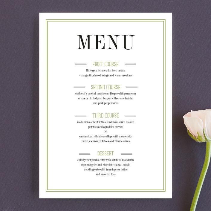 """Wed in Type"" - Modern Menu Cards in Moss by Ariel Rutland."