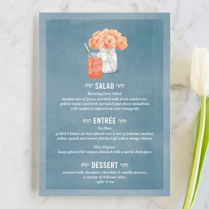"""Bouquet D'Amour"" - Floral & Botanical, Rustic Menu Cards in Pacific Jade by Beth Ann."