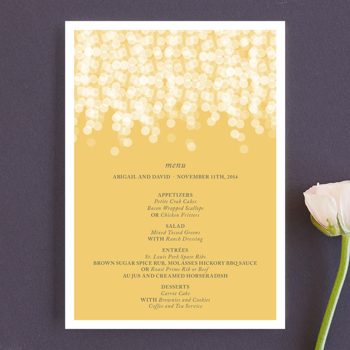 """""""Under the Stars"""" - Formal, Classical Menu Cards in Citrus Yellow by Bethany Anderson."""
