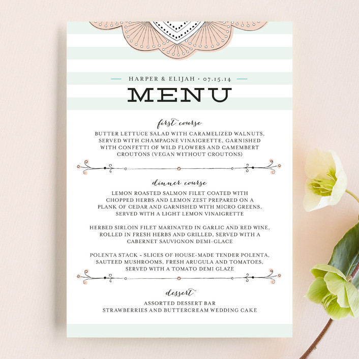 """Striped Sweet Nothings"" - Preppy, Vintage Menu Cards in Romantic by Frooted Design."