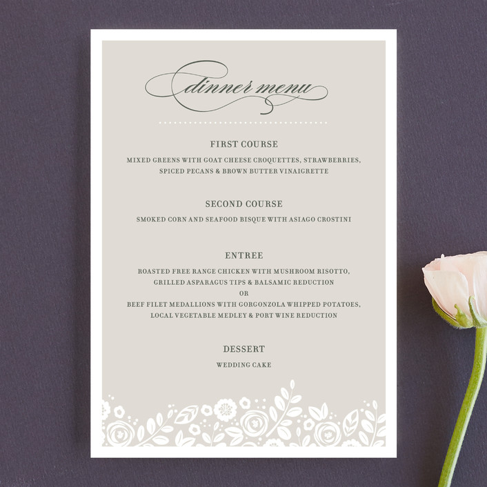 """""""White Shadows"""" - Formal, Floral & Botanical Menu Cards in Champagne by Jessica Williams."""