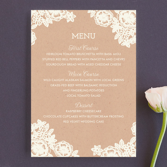 """Lace and Kraft"" - Formal, Classical Menu Cards in Kraft by Katharine Watson."