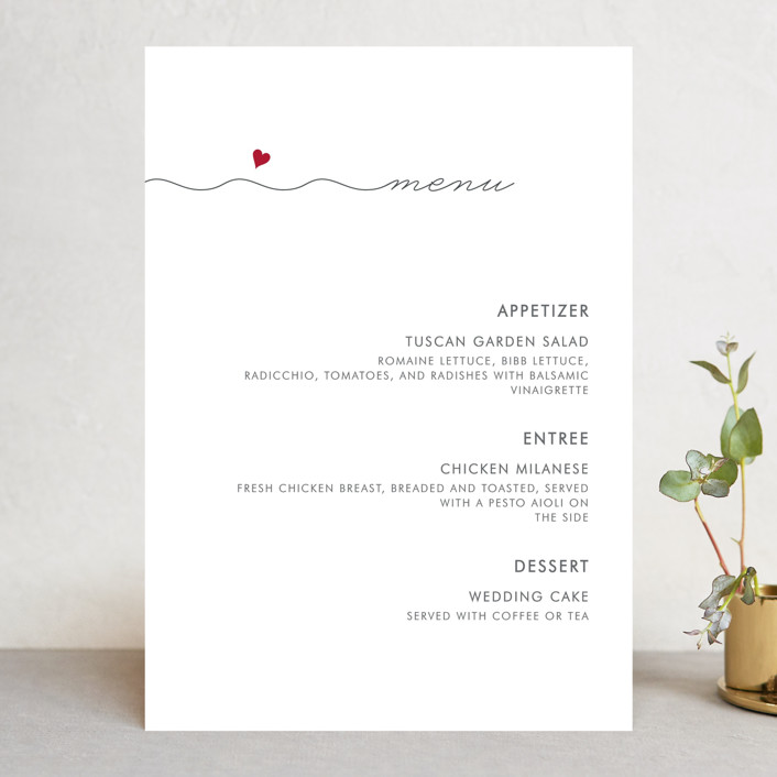 """Love Connection"" - Modern Menu Cards in Red Hot by Kim Dietrich Elam."
