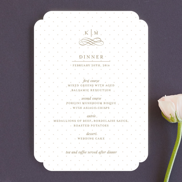 """A Glamorous Affair"" - Formal, Classical Menu Cards in Gold by Kristen Smith."