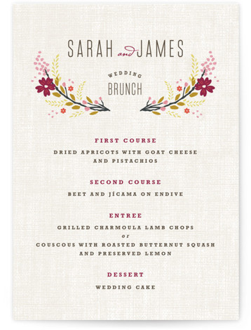 This is a portrait floral, rustic, white, purple Menus by Kristie Kern called Botanical Blooms with Standard printing on Signature in Classic Flat Card format. Give guests a sneak peek of the meal to come with these unique menus. All ...