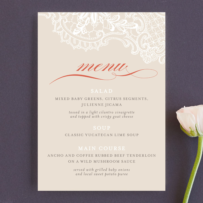 """White Lace"" - Classical, Formal Menu Cards in Coral Rose by Lauren Chism."
