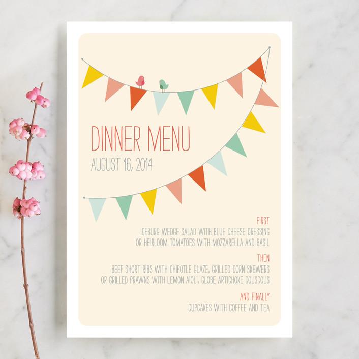 """Barn Party!"" - Rustic, Modern Menu Cards in Peach by ZucchiniPress."