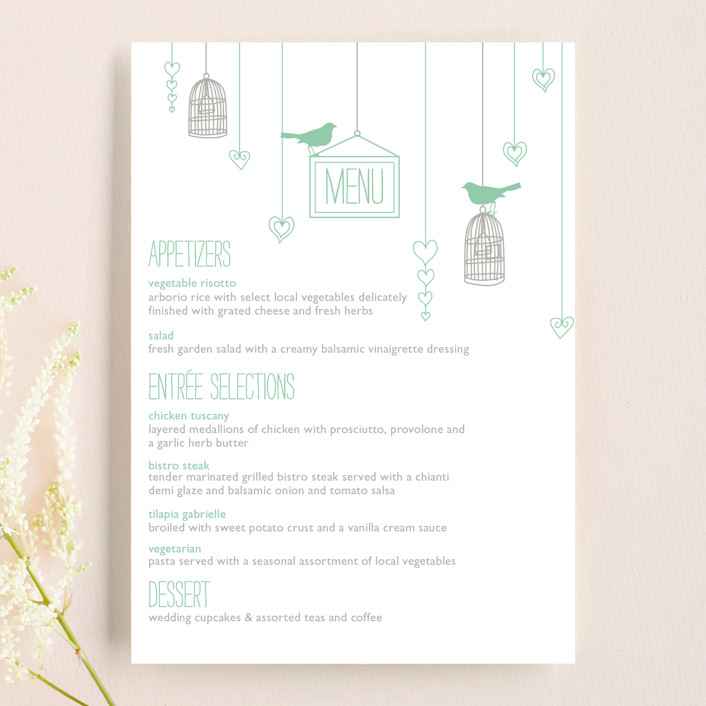 """Love Let Loose"" - Rustic Menu Cards in Seaglass by Paisley Tree Press."