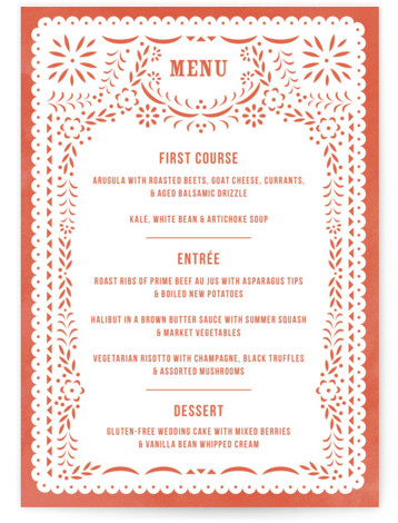 This is a portrait modern, red Menus by root beer float called Fiesta Folk Art with Standard printing on Signature in Classic Flat Card format. Give guests a sneak peek of the meal to come with these unique menus. All ...