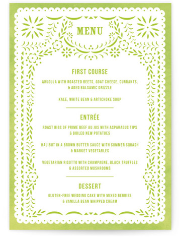 This is a portrait modern, green Menus by root beer float called Fiesta Folk Art with Standard printing on Signature in Classic Flat Card format. Give guests a sneak peek of the meal to come with these unique menus. All ...