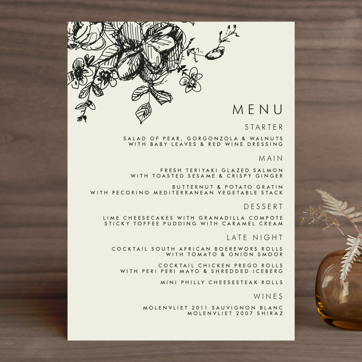 """Elegance Illustrated"" - Floral & Botanical, Classical Menu Cards in Beige by Phrosne Ras."