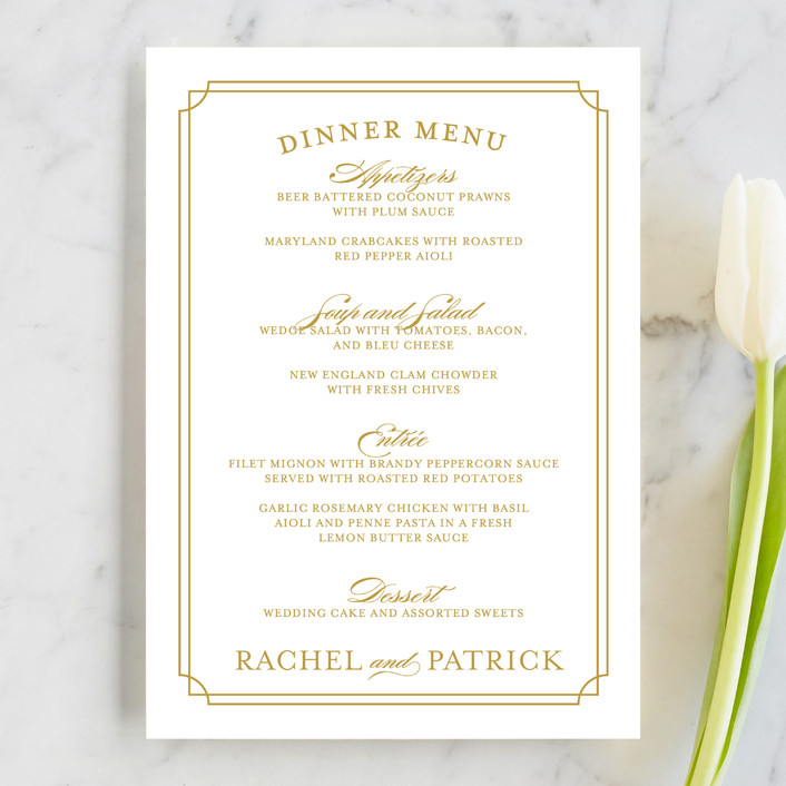"""""""Luxe Border"""" - Formal, Classical Menu Cards in Gold by Sarah Brown."""