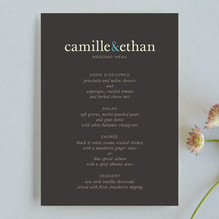 """Pop of Color"" - Modern, Simple Menu Cards in Turquoise by kelli hall."