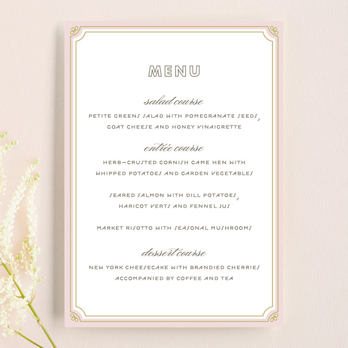 """Modern Deco"" - Vintage Menu Cards in Blush by Bourne Paper Co.."