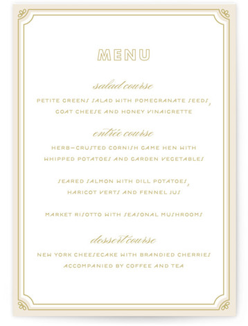 This is a portrait vintage, beige Menus by Bourne Paper Co. called Modern Deco with Standard printing on Signature in Classic Flat Card format. A deco themed starburst background paired with clean, modern fonts.