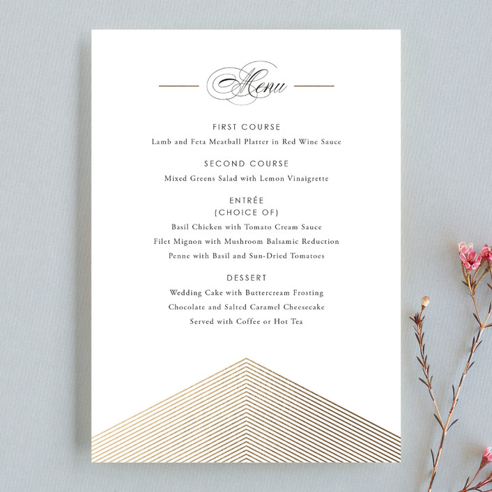 """""""Culmination"""" - Classical Menu Cards in Gold by Design Lotus."""