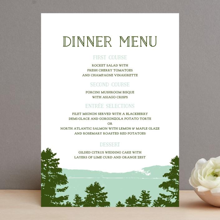 """Mountain View"" - Rustic, Destination Menu Cards in Pine green by Ariel Rutland."