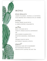 This is a green menu card by Olivia Raufman called Painted Cacti with standard printing on signature in standard.