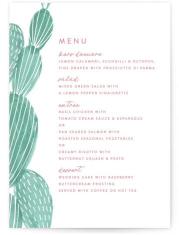 This is a green, pink Menus by Olivia Raufman called Painted Cacti with Standard printing on Signature in Classic Flat Card format. Give guests a sneak peek of the meal to come with these unique menus. All menus can be ...