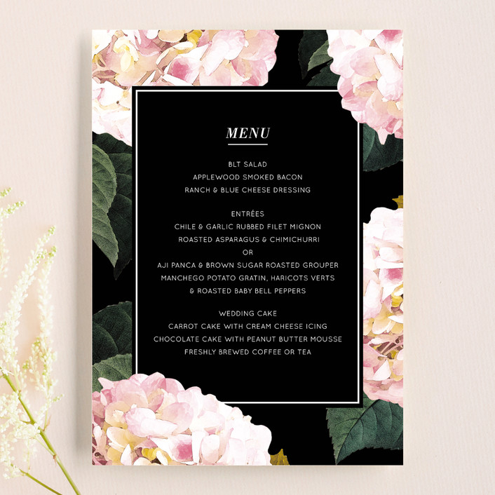 """""""Peonie Party"""" - Floral & Botanical Menu Cards in Noir by Baumbirdy."""