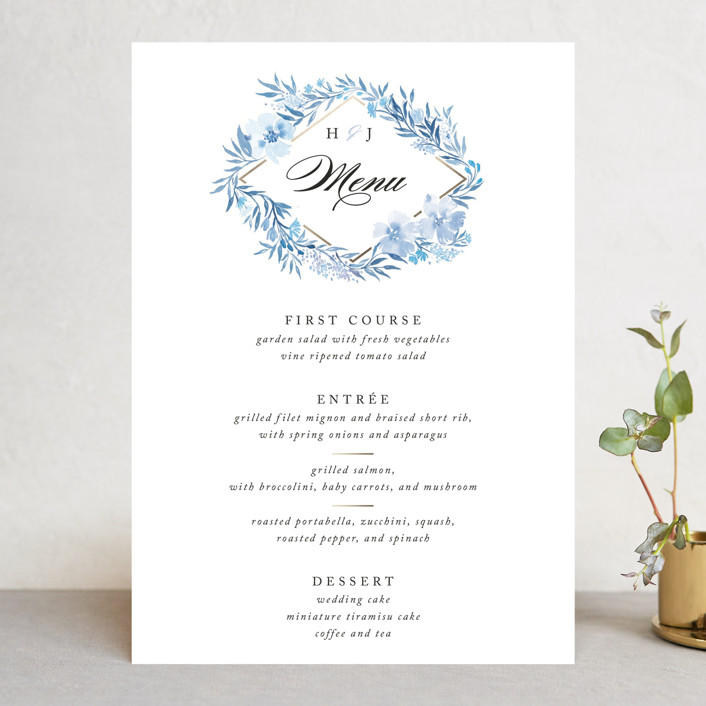 """Poetic Blue"" - Menu Cards in Sky by Qing Ji."