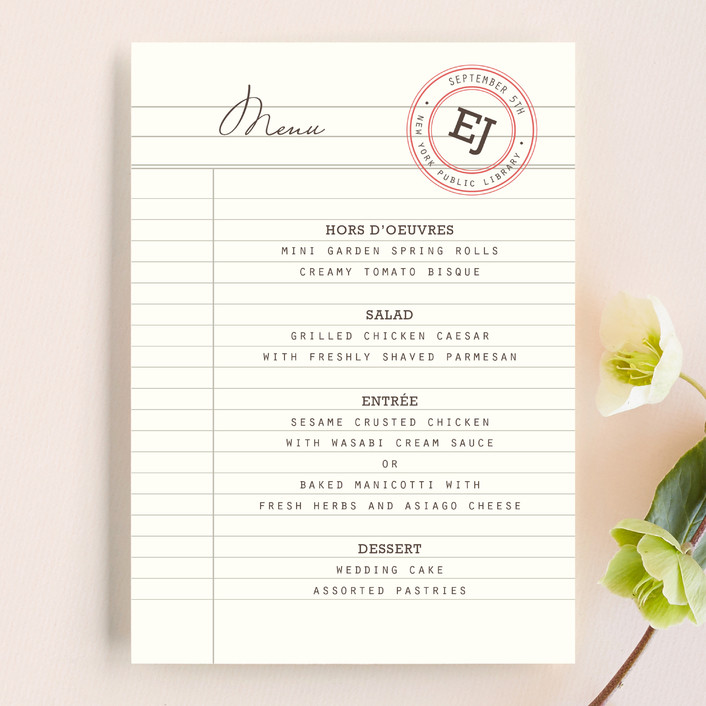 """""""Library"""" - Vintage Menu Cards in Soft Ruby by annie clark."""