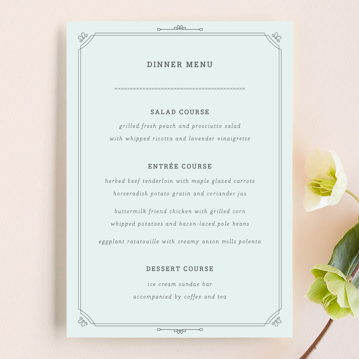 """All About Archer"" - Simple Menu Cards in Mint by Bourne Paper Co.."