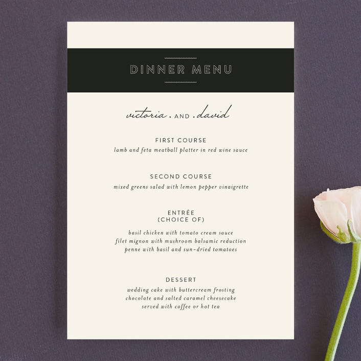 """Plain Jane"" - Elegant, Simple Menu Cards in Classic Cream by Design Lotus."