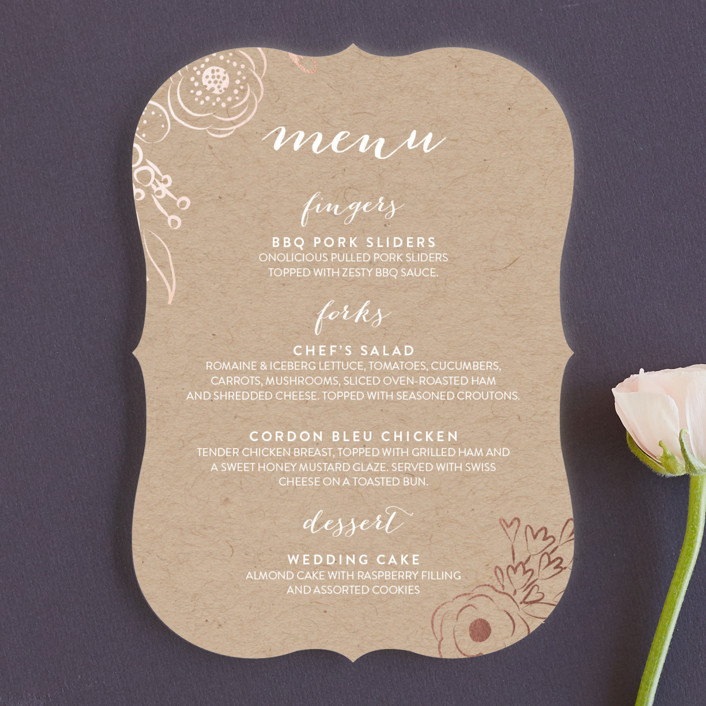 """Miss Monica"" - Rustic, Floral & Botanical Menu Cards in Kraft by Penelope Poppy."
