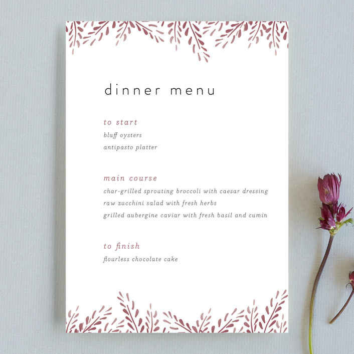 """Lupines"" - Rustic Menu Cards in Marsala by R studio."