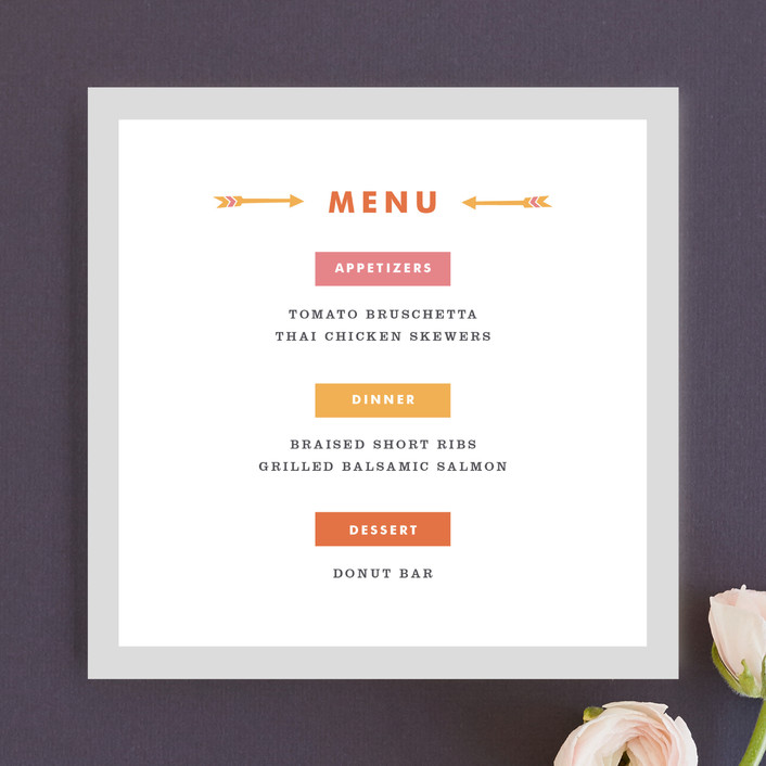"""Modern Arrow"" - Modern, Bold typographic Menu Cards in Retro Medley by Kelsey Cashman."