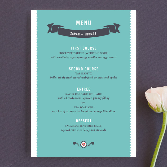"""German Stein Toast"" - Whimsical & Funny, Destination Menu Cards in Turquoise by Casey Fritz."