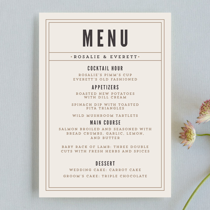 """""""Classic Type"""" - Simple, Bold typographic Menu Cards in Mocha by Pistols."""