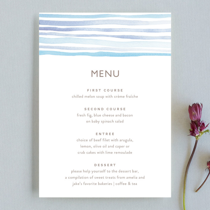 """Horizon"" - Modern, Simple Menu Cards in Light Cornflower by Dean Street."