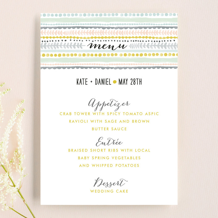 """Whimsy Stripe"" - Monogrammed, Whimsical & Funny Menu Cards in Mint by Alethea and Ruth."