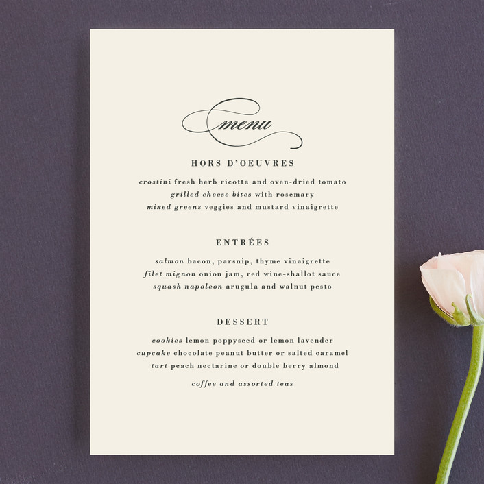 """""""Classically Stated"""" - Elegant, Formal Menu Cards in Charcoal by Roxy Cervantes."""