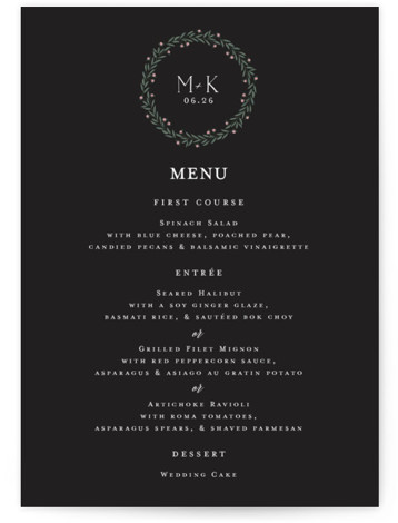 This is a classic and formal, black Menus by Chris Griffith called Wreath of Laurels with Standard printing on Signature in Classic Flat Card format. Give guests a sneak peek of the meal to come with these unique menus. All ...