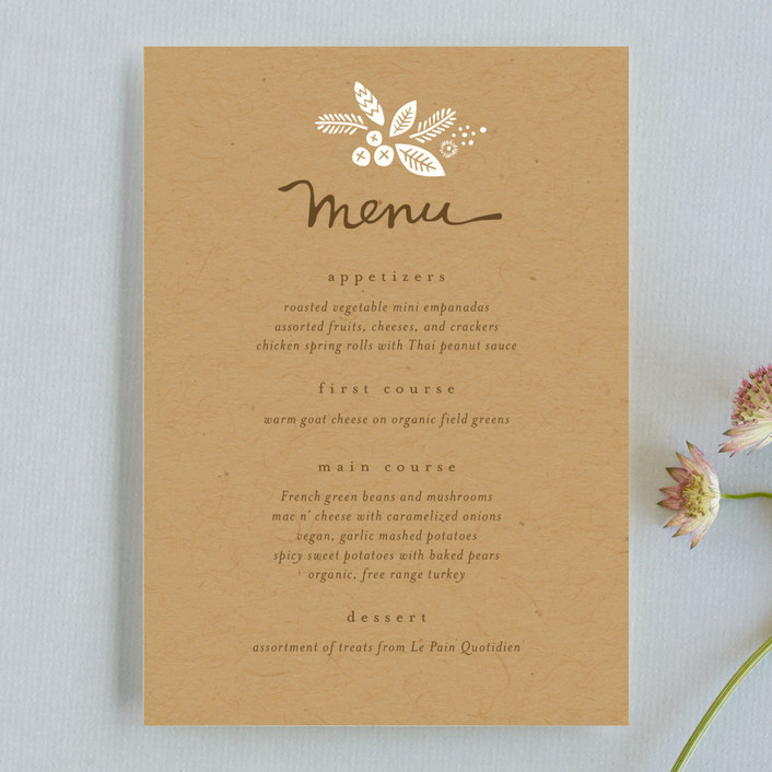 """Rustic Harvest"" - Rustic Menu Cards in Kraft by Griffinbell Paper Co.."