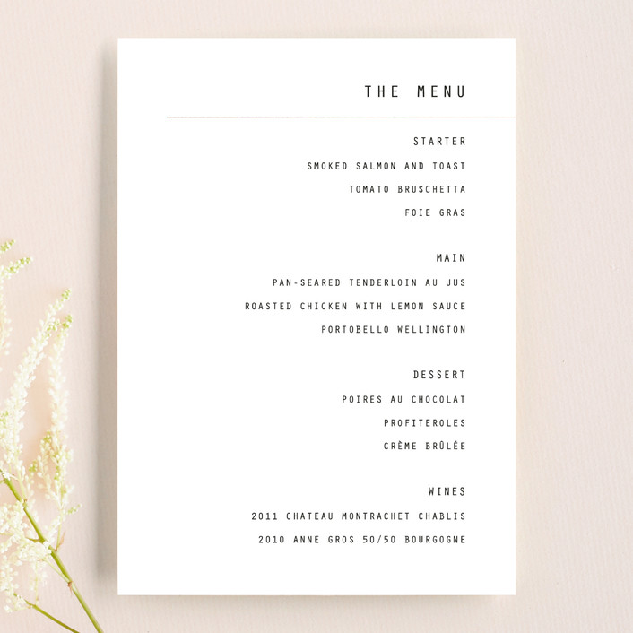 """BOLD AS LOVE"" - Simple, Modern Menu Cards in Noir by DESIGN X FIVE."