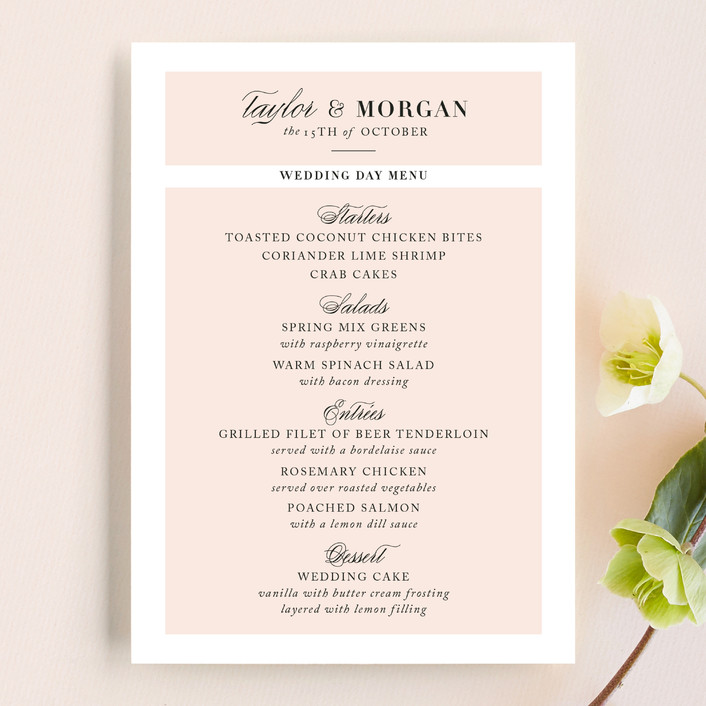 """""""Darling and Dashing"""" - Preppy Menu Cards in Blush by Alston Wise."""